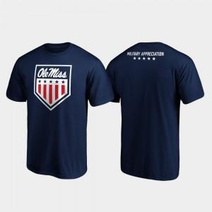 Ole Miss Rebels T-Shirt Mens OHT Military Appreciation Military Appreciation Navy