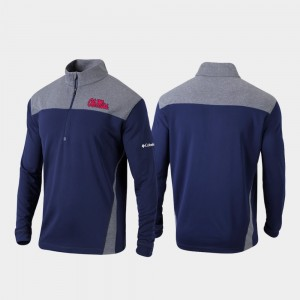 Ole Miss Rebels Jacket Quarter-Zip Pullover Omni-Wick Standard Navy Men