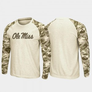 Ole Miss Rebels T-Shirt OHT Military Appreciation Men Oatmeal Raglan Long Sleeve Desert Camo