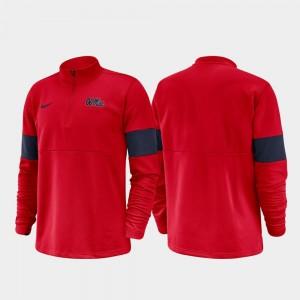 Ole Miss Rebels Jacket Red 2019 Coaches Sideline Half-Zip Performance Men