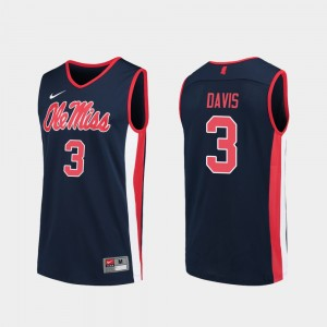 Ole Miss Rebels Terence Davis Jersey College Basketball #3 For Men Navy Replica
