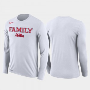 Ole Miss Rebels T-Shirt Men's March Madness Basketball Performance Long Sleeve White Family on Court