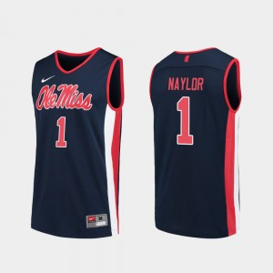 Ole Miss Rebels Zach Naylor Jersey College Basketball Navy For Men #1 Replica