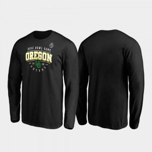 Oregon Ducks T-Shirt Black Tackle Long Sleeve Men's 2020 Rose Bowl Bound