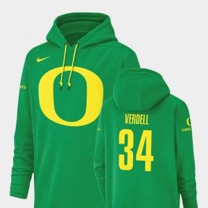 Oregon Ducks CJ Verdell Hoodie Green Football Performance Champ Drive For Men #34