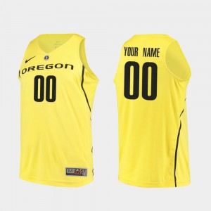 Oregon Ducks Custom Jersey Men's College Basketball Yellow Authentic #00