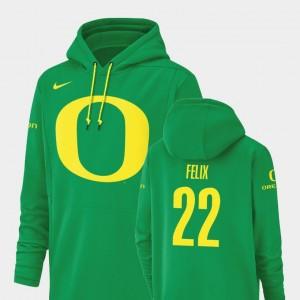 Oregon Ducks Darrian Felix Hoodie Green Football Performance Champ Drive #22 Mens