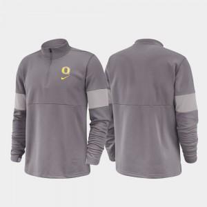 Oregon Ducks Jacket 2019 Coaches Sideline Gray For Men Half-Zip Performance