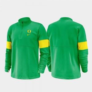 Oregon Ducks Jacket Mens 2019 Coaches Sideline Green Half-Zip Performance