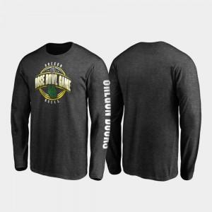 Oregon Ducks T-Shirt 2020 Rose Bowl Bound For Men Heather Charcoal Neutral Stiff Arm Long Sleeve