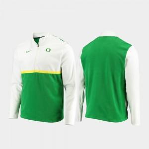 Oregon Ducks Jacket White Green Mens Quarter-Zip Pullover Color Block