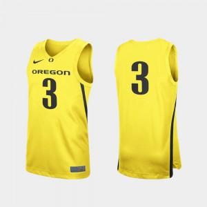 Oregon Ducks Jersey For Men College Basketball Replica #3 Yellow