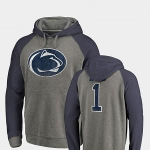 Penn State Nittany Lions Hoodie Greatest Dad Men Heathered Gray Raglan Tri-Blend Big & Tall