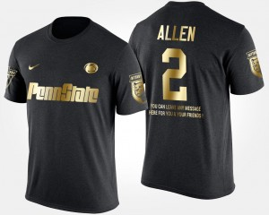 Penn State Nittany Lions Marcus Allen T-Shirt Black Men's Gold Limited #2 Short Sleeve With Message