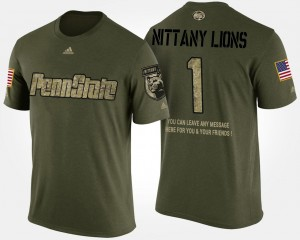Penn State Nittany Lions T-Shirt Men's #1 Military No.1 Short Sleeve With Message Camo