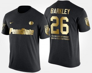 Penn State Nittany Lions Saquon Barkley T-Shirt #26 Gold Limited Men Black Short Sleeve With Message