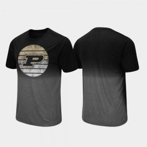 Purdue Boilermakers T-Shirt Black Fancy Walking Dip Dye Men