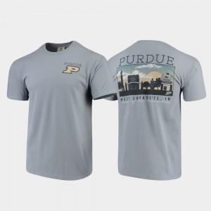 Purdue Boilermakers T-Shirt Comfort Colors Campus Scenery Mens Gray