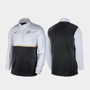 Purdue Boilermakers Jacket White Black Color Block Men's Quarter-Zip Pullover