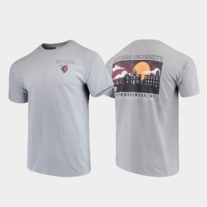 Rutgers Scarlet Knights T-Shirt Campus Scenery Comfort Colors Men Gray
