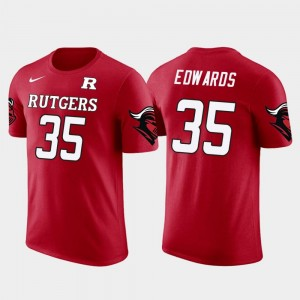 Rutgers Scarlet Knights Gus Edwards T-Shirt Red #35 Baltimore Ravens Football For Men's Future Stars