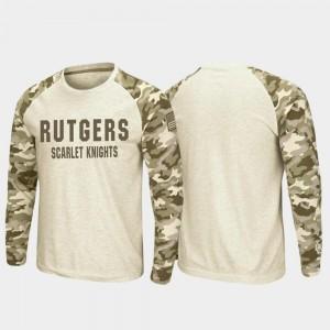 Rutgers Scarlet Knights T-Shirt Men Raglan Long Sleeve Desert Camo OHT Military Appreciation Oatmeal