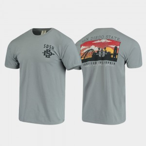 San Diego State Aztecs T-Shirt Gray Mens Comfort Colors Campus Scenery