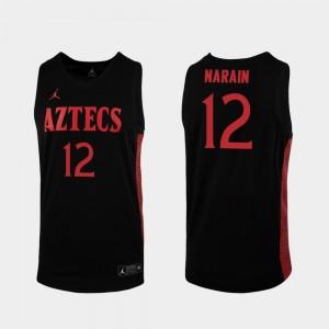 San Diego State Aztecs Nolan Narain Jersey 2019-20 College Basketball Men's Black #12 Replica