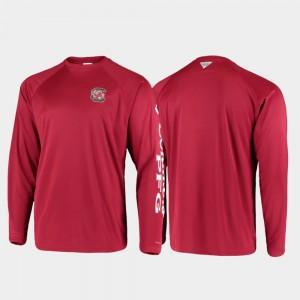 South Carolina Gamecocks T-Shirt Omni-Shade Garnet Men PFG Terminal Tackle Long Sleeve