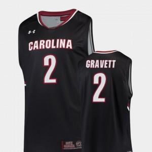 South Carolina Gamecocks Hassani Gravett Jersey College Basketball Black Replica For Men's #2