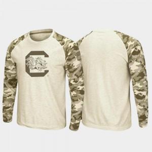 South Carolina Gamecocks T-Shirt OHT Military Appreciation Men's Raglan Long Sleeve Desert Camo Oatmeal