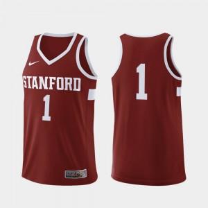 Stanford Cardinal Jersey Mens Cardinal #1 College Basketball Replica