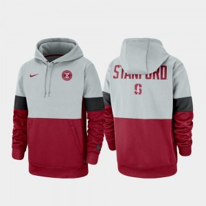 Stanford Cardinal Hoodie For Men's Gray Cardinal Therma Performance Pullover Rivalry