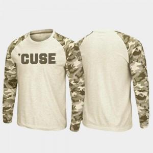 Syracuse Orange T-Shirt Oatmeal Raglan Long Sleeve Desert Camo For Men's OHT Military Appreciation