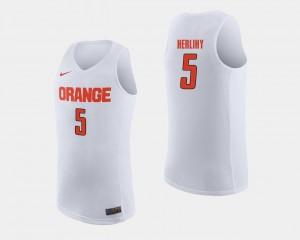 Syracuse Orange Patrick Herlihy Jersey College Basketball #5 Mens White