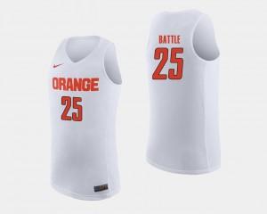 Syracuse Orange Tyus Battle Jersey Mens College Basketball White #25