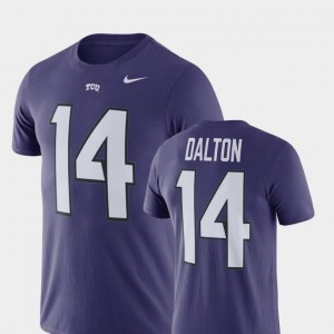 TCU Horned Frogs Andy Dalton T-Shirt #14 Men Name & Number Purple College Football