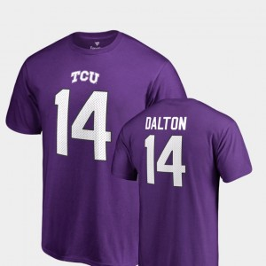 TCU Horned Frogs Andy Dalton T-Shirt Purple For Men Name & Number #14 College Legends