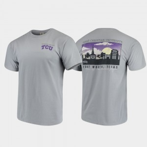 TCU Horned Frogs T-Shirt Mens Campus Scenery Gray Comfort Colors