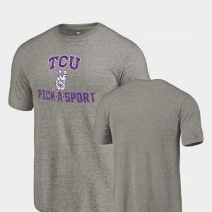 TCU Horned Frogs T-Shirt Gray Pick-A-Sport Mens Tri-Blend Distressed