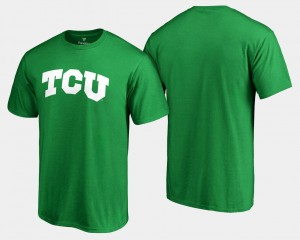 TCU Horned Frogs T-Shirt Mens White Logo Big & Tall Kelly Green St. Patrick's Day