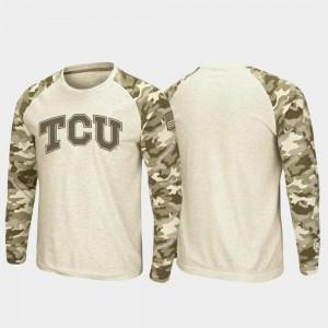 TCU Horned Frogs T-Shirt For Men Oatmeal OHT Military Appreciation Raglan Long Sleeve Desert Camo