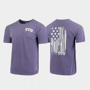 TCU Horned Frogs T-Shirt Comfort Colors Baseball Flag Men's Purple