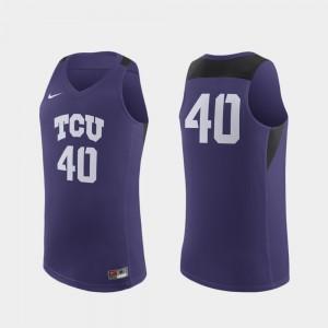 TCU Horned Frogs Jersey Purple Replica Men's #40 College Basketball
