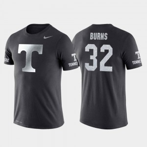 Tennessee Volunteers D.J. Burns T-Shirt College Basketball Performance #32 For Men Travel Anthracite