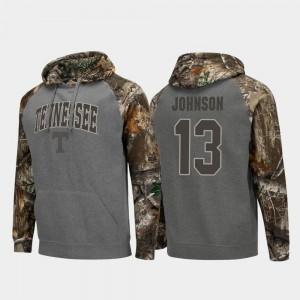 Tennessee Volunteers Jalen Johnson Hoodie Charcoal For Men's Realtree Camo Colosseum Raglan #13