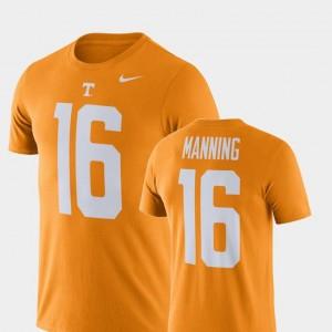 Tennessee Volunteers Peyton Manning T-Shirt #16 Football Performance Mens Tennessee Orange
