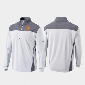 Tennessee Volunteers Jacket Mens White Quarter-Zip Pullover Omni-Wick Standard