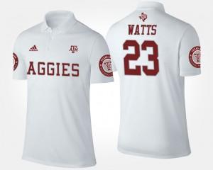Texas A&M Aggies Armani Watts Polo For Men #23 White