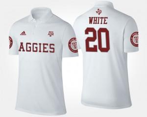 Texas A&M Aggies James White Polo #20 White Mens